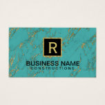 Construction Monogram Trendy Turquoise Gold Marble Business Card