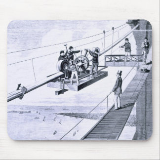 Construction of Brooklyn Bridge, New York (litho) Mouse Pad