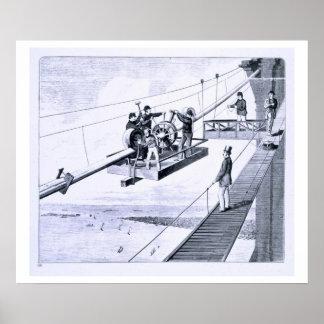 Construction of Brooklyn Bridge, New York (litho) Print