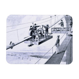 Construction of Brooklyn Bridge, New York (litho) Rectangular Photo Magnet
