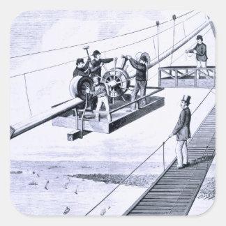 Construction of Brooklyn Bridge, New York (litho) Square Sticker