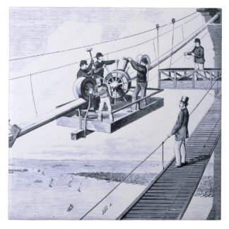 Construction of Brooklyn Bridge, New York (litho) Tile