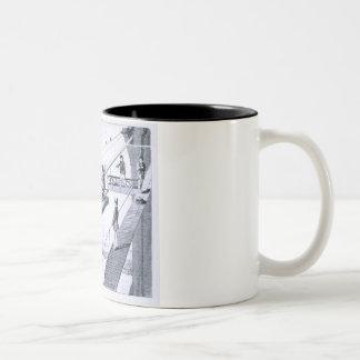 Construction of Brooklyn Bridge, New York (litho) Two-Tone Coffee Mug