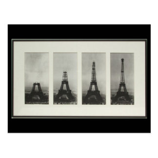 Construction of Eiffel Tower Paris France Postcard