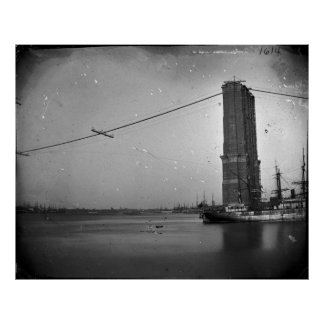 Construction of The Brooklyn Bridge Photograph Poster