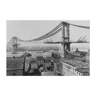 Construction of the Manhattan Bridge March 23 1909 Canvas Print