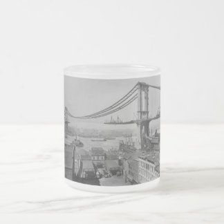 Construction of the Manhattan Bridge March 23 1909 Frosted Glass Coffee Mug