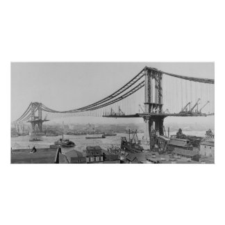 Construction of the Manhattan Bridge March 23 1909 Customized Photo Card