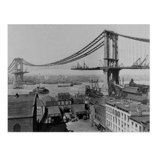 Construction of the Manhattan Bridge March 23 1909 Postcard