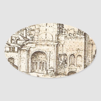 Construction of the new St Peter's Basilica Oval Sticker