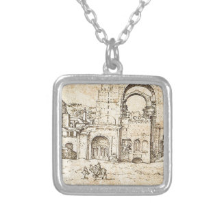 Construction of the new St Peter's Basilica Square Pendant Necklace