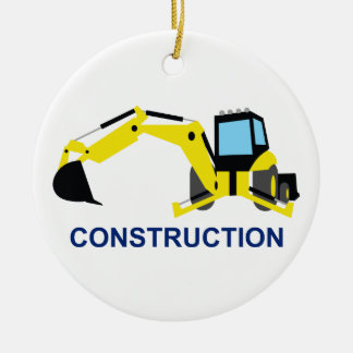Construction Double-Sided Ceramic Round Christmas Ornament