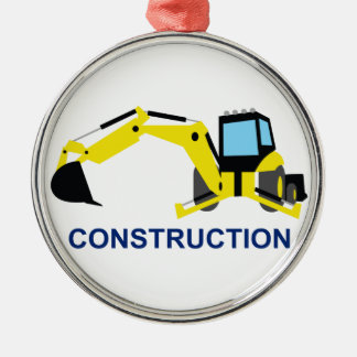 Construction Round Metal Christmas Ornament