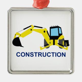 Construction Square Metal Christmas Ornament