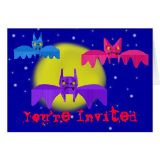 Construction Paper Bats Invitation Greeting Card