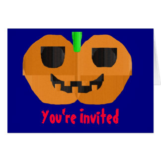 Construction Paper Pumpkin Invitation Greeting Card