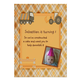 Construction Party Personalized Invitations