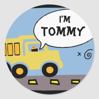 Construction Party Name Tag Stickers