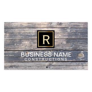 Construction & Repair Monogram Rustic Wood Business Card