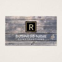 Construction & Repair Monogram Vintage Wood Business Card