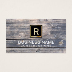 Construction & Repair Monogram Vintage Wood Business Card at Zazzle