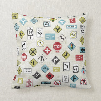 Construction Road Signs Pillow