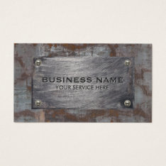 Construction Rusty Metal Plate Professional Business Card at Zazzle