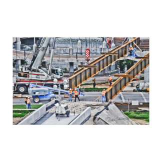Construction Scene of Bridge Building Gallery Wrapped Canvas