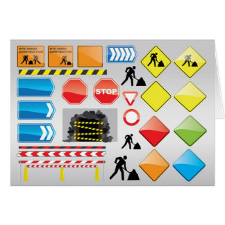 CONSTRUCTION SIGNS STOP YIELD WARNINGS MEN WORK GREETING CARDS