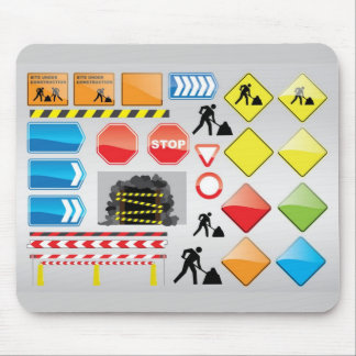 CONSTRUCTION SIGNS STOP YIELD WARNINGS MEN WORK MOUSE PAD