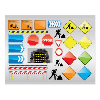 CONSTRUCTION SIGNS STOP YIELD WARNINGS MEN WORK POST CARD