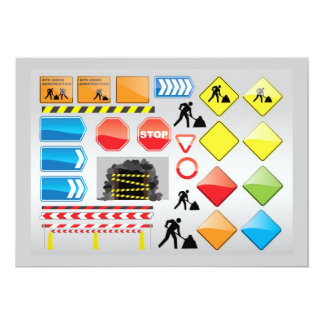 CONSTRUCTION SIGNS STOP  YIELD WARNINGS MEN WORKIN CARD