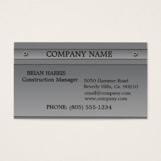 Construction Silver Metal Embossed Business Card