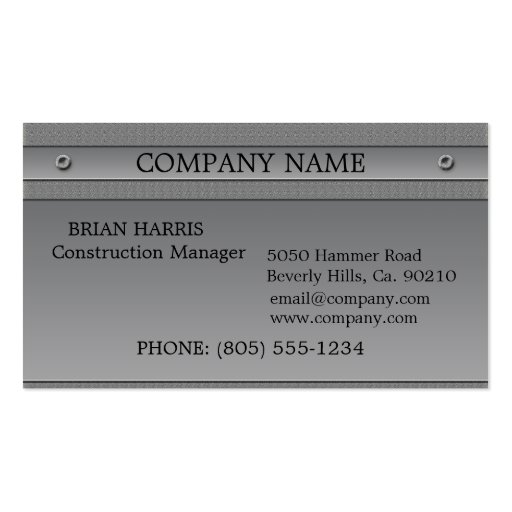 Construction Silver Metal Embossed Classic Business Cards