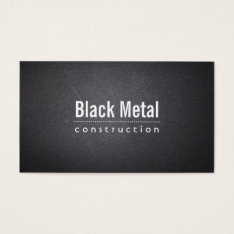 Construction Simple Dark Leather Bold Text Business Card at Zazzle