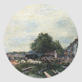 Construction Site at Saint Mammes by Alfred Sisley Classic Round Sticker