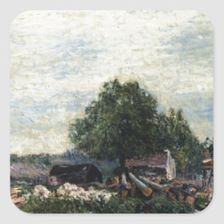 Construction Site at Saint Mammes by Alfred Sisley Square Sticker