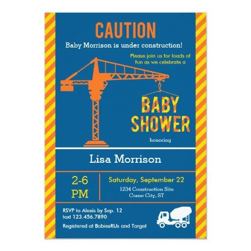 construction site baby shower invitation zazzle