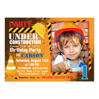 Construction Site Birthday Party Invitation