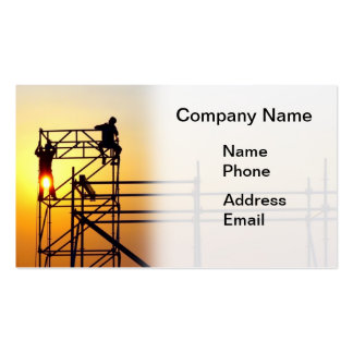 Construction Site with Workers at Sunset Double-Sided Standard Business Cards (Pack Of 100)