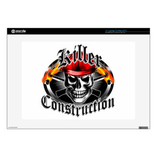 Construction Skull 3 With Red Hard Hat Decals For Laptops