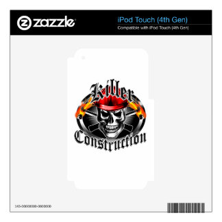 Construction Skull 3 With Red Hard Hat iPod Touch 4G Skin
