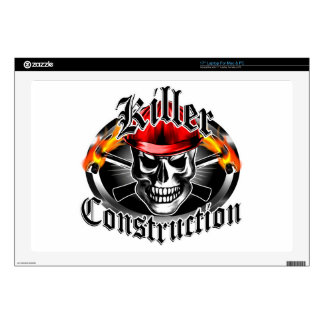 Construction Skull 3 With Red Hard Hat Laptop Decal