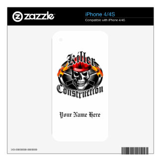 Construction Skull 3 With Red Hard Hat Skin For iPhone 4S