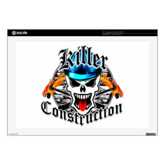 Construction Skull with Blue Hard Hat Decal For Laptop