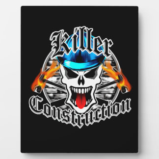 Construction Skull with Blue Hard Hat Plaque