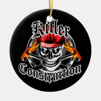 Construction Skull With Red Hard Hat Ceramic Ornament