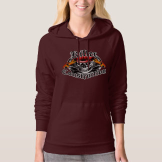 Construction Skull With Red Hard Hat Hooded Sweatshirt