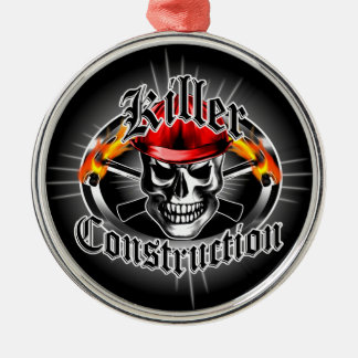 Construction Skull With Red Hard Hat Metal Ornament