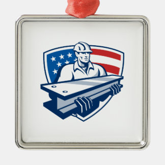 Construction Steel Worker I-Beam American Flag Metal Ornament